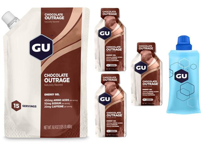 GU Energy Gel Sports Nutrition Chocolate Outrage pouch 480g + 3 x 32g gels + flask